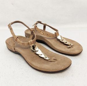 Vionic Miami T-Strap Cork & Gold Sandals